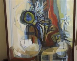 This is an acrylic abstract  painting that we think was painted by the owner Lou Violette. Found other abstracts that she signed. This one is not signed. Measures 55 inches tall. width is 38 inches. That is with frame.  $325.00