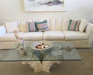 4 cushion 10 ft. Couch,  $250 excellent condition, palm base cocktail table with rectangle glass top $150