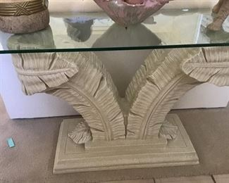 palm console table, glass top, $185