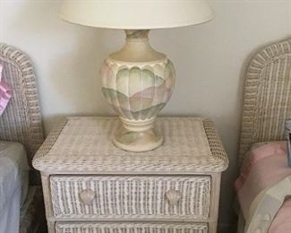 $ 350    wicker set twin beds , 3 drawer chest & lamp-2 twin wicker headboards ( frames, box springs free if you wish with purpose.