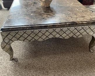 "Stone top coffee table (45""x45""x18""tall) - $250 or best offer."