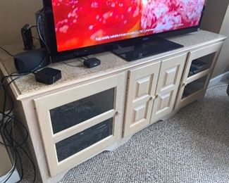 "TV console with granite top (73""L x 27""H x 27""D) - $250 or best offer."
