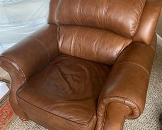 "Brown leather armchair (38"" wide x 42"" deep) - $450 or best offer."