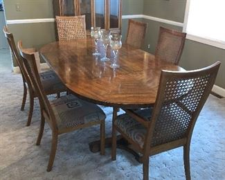 "Drexel Heritage dining set with 6 chairs (46""W x 86""L - with 2 leaves in) - $750 or best offer.  Drexel Heritage china cabinet (45""W x 78""T x 15""D) - $500 or best offer."
