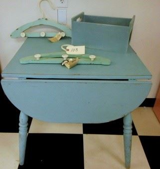 Lot 103 Turquoise Table  Wood Box  Two Wooden Hangers