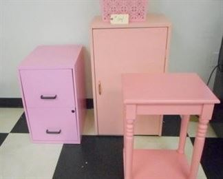 Lot 104 Group of Pink Furniture File Cab  Table  Cabinet  Basket
