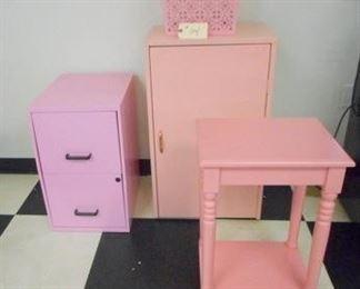 Lot 104 Group of Pink Furniture File Cab  Table  Cabinet  Basket