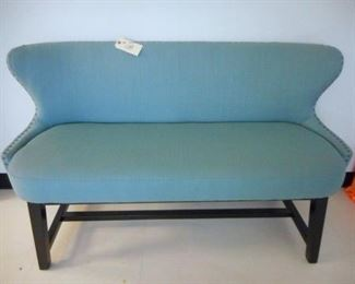 Lot 108 Blue Colored Upholstered Sofa Couch with low back