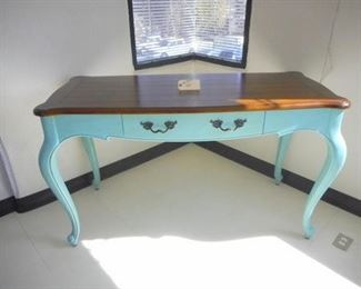 Lot 110 Large Turquoise Blue Secretary Desk