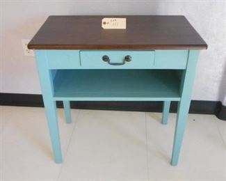 Lot 111 Wooden Turquoise Table with Drawer