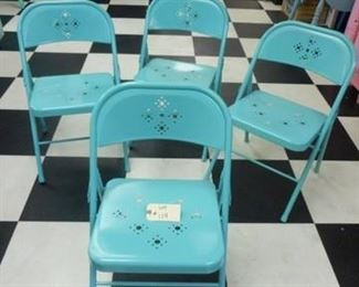 Lot 119 Group of 4 Turquoise Folding Chairs with Cut Out Designs