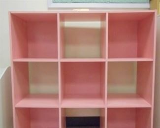 Lot 126 Simple Pink Wooden Cubby Shelf