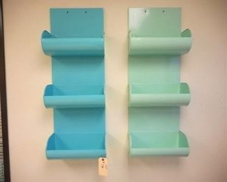 Lot 136 Two different shades of blue metal wall hanging caddies