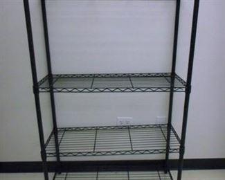 Lot 146 Simple Black Metal Shelf Unit 55 tall x 35 wide x 14 deep