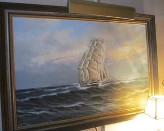 original oil painting - sailboat on ocean