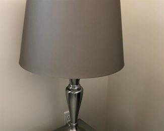 "There is a pair of these Silver and Grey Lamps.26"" tall and the shade is 14"" in diameter"