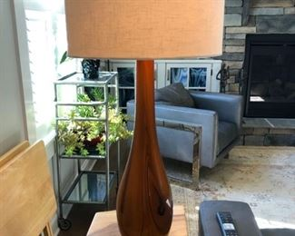"Hand Blown Glass Lamp is 32""tall and the shade is 15"" diameter."
