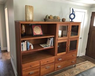 "Book Case and Display Cabinet in Solid Cherry with Chrome.  77.5""l x 19.5""w x 64.5""h by Room&Board, Handcrafted in Wisconsin. This is one piece and cannot be broken into smaller pieces."