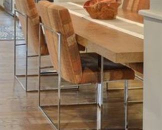Burl Wood Table with Chrome Legs for Thayer Coggin Inc 7' long.  Also for sale are the 8 chairs.