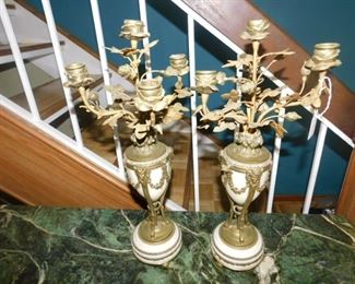 Italian Brass and marble candelabras