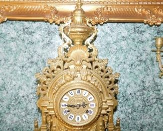 Vintage Italian Imperial Brass clock with matching candelabras missing glass plate to clock and one finial