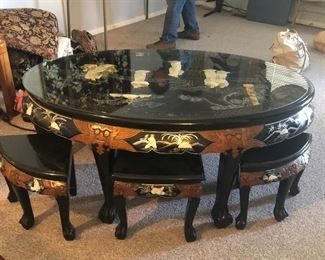 Lacquer Asian table and chairs