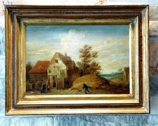 "David II Teniers the Younger (Flemish, 1610-1690) ""Village Scene"", Oil on Canvas, 9.5"" x 14"""