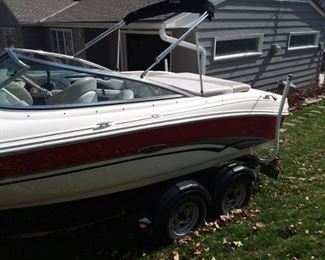 This presale to an estate sale! COPY AND SEARCH LINK FOR MORE PICS:    https://www.estatesales.net/MO/Kansas-City/64116/2502597  Basic Boat Info....however this Boat has lots of extras and includes trailer(Tow Smart Hitch), recently de-winterized, cockpit and bow cover, and Bimini Top. Serious inquiries for test drive at Smithville Lake! Make: Sea Ray Bow Rider  Model: 200 BR  Year: 2003  Condition: Used fiberglass  Hours: 287.6    Propellers: Mercury Marine Bravo Three Propellers 48-823668/7 26P (set of 2)    Engines / Speed Engines: 1  Make: Mercruiser Model: 5.0L/A MPI Fuel: Unleaded Type: Inboard/Outboard The 5.0 MPI is one of our most popular engine choices. With 260 hp, it provides excellent power for tow sports, larger runabouts and cruisers. Its proven V-8 base engine delivers year-after-year performance and reliability. All our V8 Bravo Multi-Port Injection (MPI) sterndrive models are available with optional Digital Throttle & Shift (DTS). DTS eliminates cable maintenance and