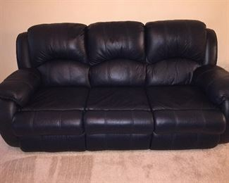 Very Nice Like New Leather Sleeper Sofa (Mattress Still in Plastic Covering) Matching Reclining Loveseat
