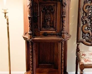 """$995 - Beautiful Carved Wood Church Vestry / Vestment Cabinet from The Church of the Holy Comforter in Kenilworth (25"""" W x 17"""" D x 49"""" H)"""