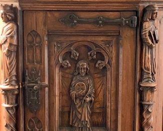 (close up of vestry / vestment cabinet door)