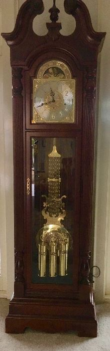 BEAUTIFUL WORKING 77TH ANNIVERSARY HOWARD MILLER GRANDFATHER CLOCK.