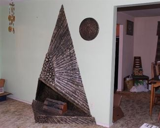 "Fireplace by Adrian Pearsall for Craft Associates, USA, 1970s. The triangular base with triangular hood all with textured bronze finish, circa 1970s. Measures: 87"" high, 65"" wide, 24.5"" deep."
