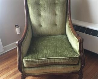 Item #71: Vintage, tufted, light green velour chair. In excellent condition. Price $80