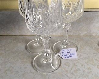 Iten #1: Set of 3 chrystal wine glasses:  $8