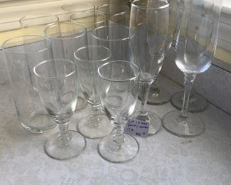 Item #3: Assorted glass/stemware: $12 (15pc)