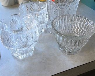 Item #17: Set of 4 assorted crystal dishes $10