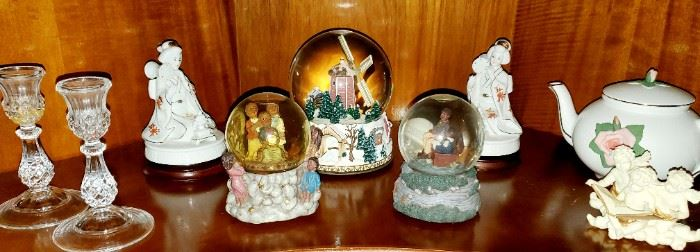 Crystal Candleholder Set; Snow Globes; Tea Kettle; Musical Japanese Figurines