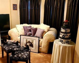 White Love Seat; Leather Drapery; Stools; Side Table; Hoem Decor