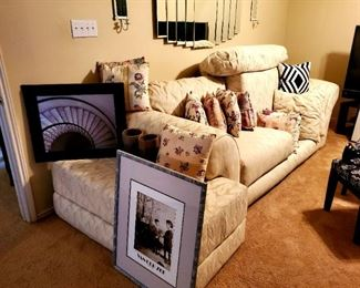 White Couch; Large Ottoman; Wall Art; Hanging Mirror