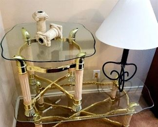 Glass Coffee Table and Side Table; Lamp; Candleholder Set