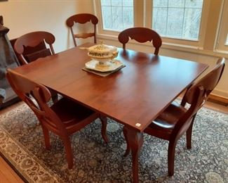 """Amazing Nichols and Stone Dining Table with 6  Chairs + 2 - 16"""" leaves.  Table measures 64"""" x 44"""" without the leaves. $495"""
