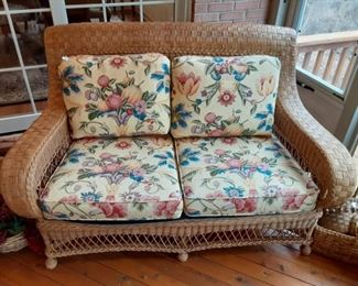 Henry Link Real Wicker patio furniture  love seat $195. 1 of 3 piece patio set Real Wicker Not plastic