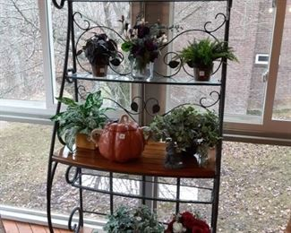 Iron baker's rack with wood and glass shelves $95