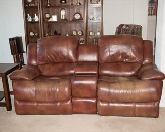 Reclining Leather Loveseat with Console
