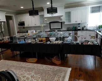 kitchenware, platters ,dishes, stemware, crystal, barware...