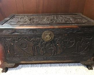 Antique carved teak camphor trunk