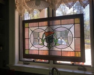 $300 PRICE REDUCTION  Antique stained glass transom