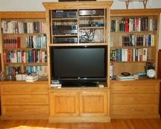 """Large entertainment center/shelf, 120"""" x 28""""D x 82""""H"""