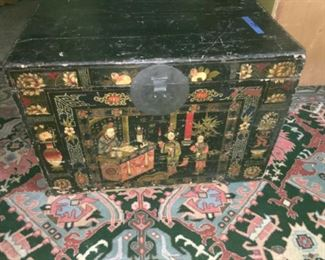 Oriental chest 165.00  and large rug   325.00 with appraisal -